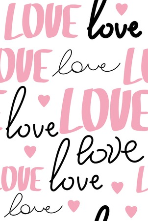Seamless pattern with word love-vector illustration. The words red and white on a bright background.vector