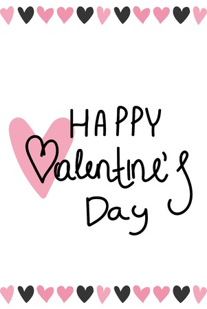 Happy Valentines Day card, typography, background with hearts vector