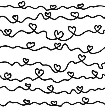 Hand drawn ink hearts seamless pattern , sketchy artsy, calligraphy nib drawing. vector