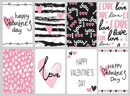 Collection of pink, black, white colored Valentines day card, sale and other flyer templates with lettering.