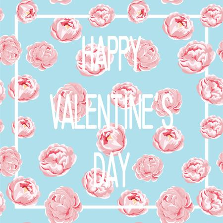Happy Mothers Day with rose flowers and hearts. vector