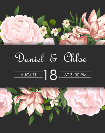 Wedding floral invite, invtation, save the date card design. Watercolor blush pink roses, cute white garden peony flowers, green leaves, greenery fern, golden geometrical decoration. card with peonies and pink flowers, wedding invitation Ilustracja