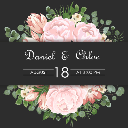 Wedding floral invite, invtation, save the date card design. Watercolor blush pink roses, cute white garden peony flowers, green leaves, greenery fern, golden geometrical decoration. card with peonies and pink flowers, wedding invitation Illustration
