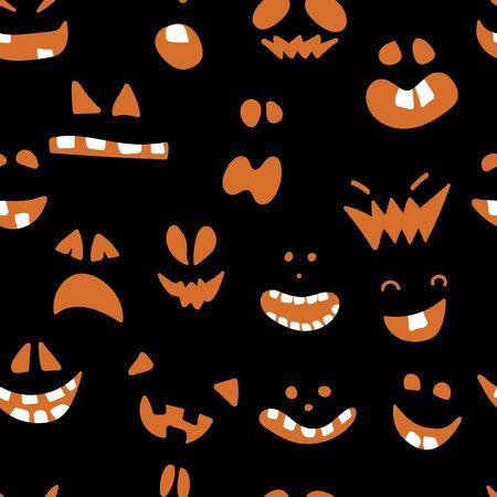 Halloween pattern with black background design. 向量圖像