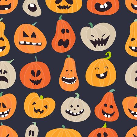 Halloween pattern design with pumpkins. Ilustracja