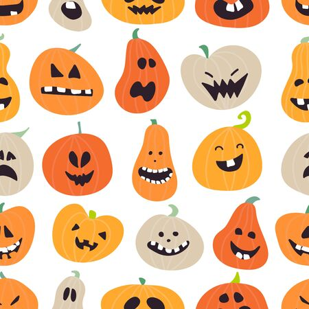 Halloween pattern design with pumpkins. 向量圖像