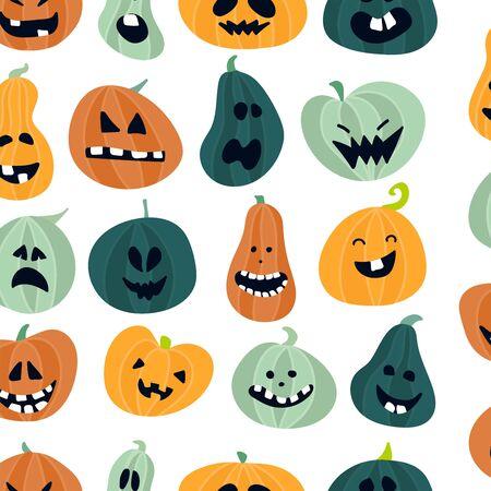 Halloween pattern design with pumpkins. Zdjęcie Seryjne - 131070272