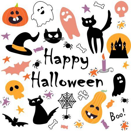 Abstraktes buntes Halloween, Illustrationshintergrund mit Kürbissen, Geist und Katze. Herbstillustration für Halloween Vektorgrafik