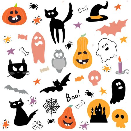 Abstract colorful Halloween,illustration background with Pumpkins, ghost and cat. autumn illustration for Halloween