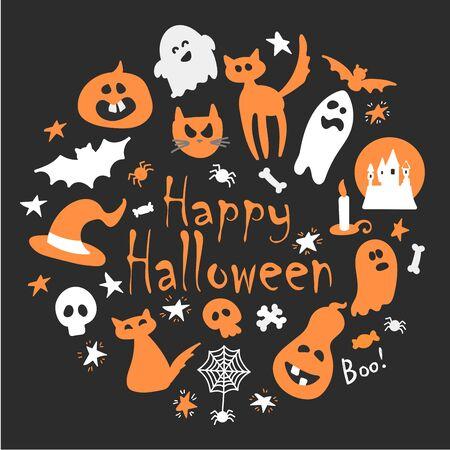 Halloween coloré abstrait, fond d'illustration avec des citrouilles, un fantôme et un chat. illustration d'automne pour Halloween