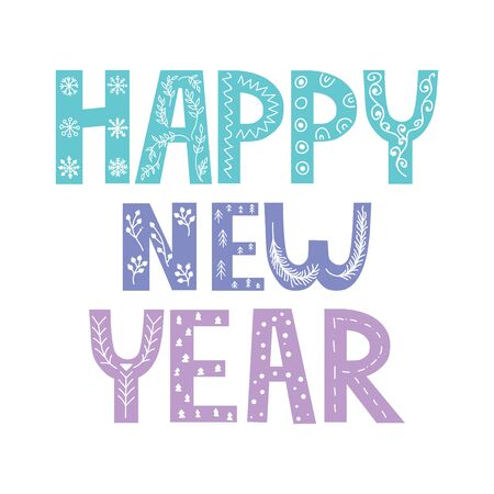 Happy New Year hand lettering calligraphy isolated on white background. Vector holiday illustration element. 向量圖像