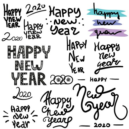 Happy New Year hand lettering calligraphy isolated on white background. Vector holiday illustration element. black inscription text