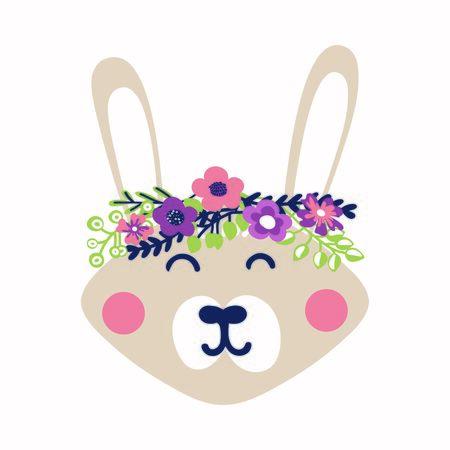A cute rabbit with a wreath on his head. Cartoon character, flat style. Vector image. Spring Bunny 向量圖像