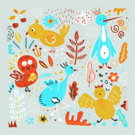 vector image of birds.drawn bright birds, children's drawing. birds against the backdrop of bright colors and leaves 向量圖像