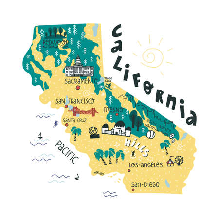 California state funny hand drawn map with landmarks and biggest cities points lettering.