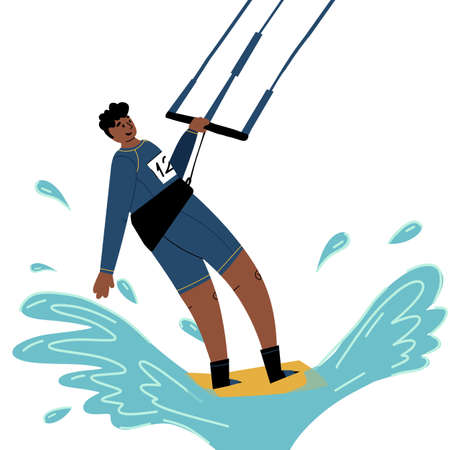 Funny young sportsmen kite surfer ride a wave. Flat vector isolated illustration. Illustration