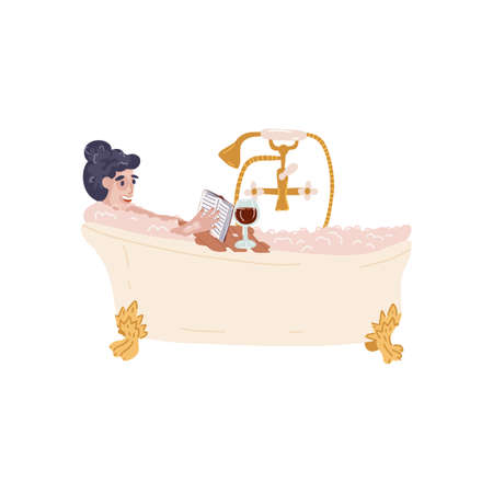 Glamour girl in face and shoulders mask relaxing in bath on claw foots with bubbles,enjoys glass of red wine and book.