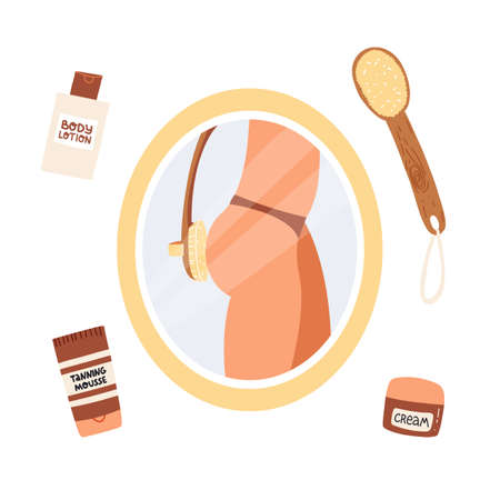 In the reflection of the bathroom mirror, the girl makes a dry massage flesh brush with natural bristles. Around cosmetics for burning fat and skin care , body lotion, tanning mousse, cream.