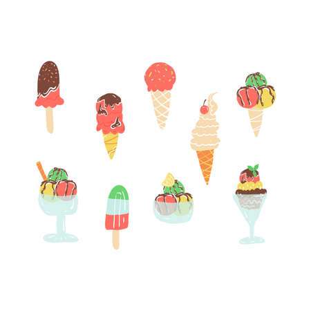 Set of various tastes ice cream in a waffle cone, in a bowl, frozen yogurt and juice with topping, sorbet and others. Illustration