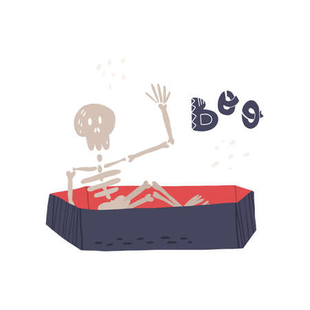 Funny hand drawn human skeleton rising from the coffin and waving hand, Boo lettering text. Halloween banner,card design