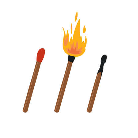Set of 3 hand drawn matches, original safety, lighted with flame and burned. Vector flat isolated illustration.