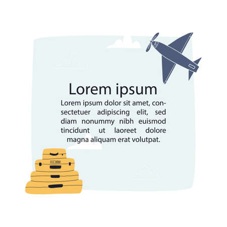 Banner template with plane, suitcases, clouds and blue sky background with place for your text in the middle. Illustration