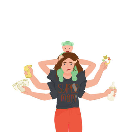 Tired multi armed mother doing a lot works at one time - holding her baby,in others hands napkin, bottle, rattle.