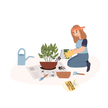 A young girl in garden gloves transplanted a house plant in a larger pot at home in the living room on a newspaper. Vectores