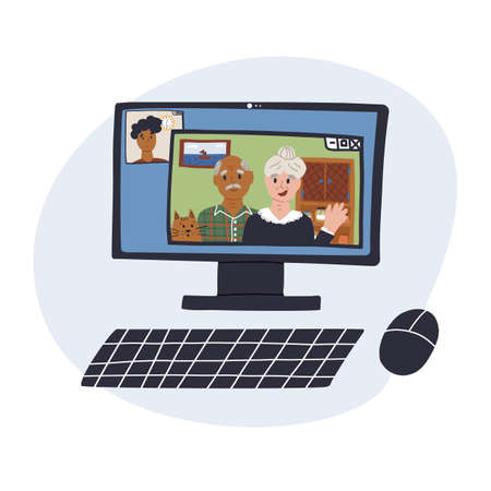 Fun hand drawn PC screen with online call page on monitor with parents and young student son.Distant family call concept