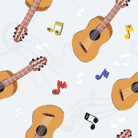 Funny hand drawn music vector seamless pattern with guitar and notes, violin tremble on light blue gray background
