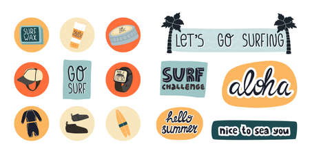 Surf set like cloth, face zinc, cap, wax, reef boots, tracker watch and lettering Challenge, Lets go surfing and other.