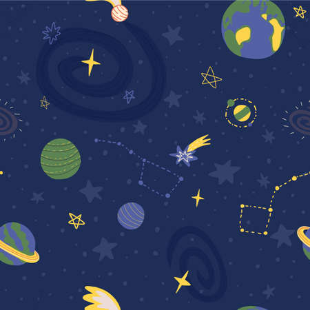 Hand drawn space seamless pattern with various planets, stars constellations, comets and Milky Way galaxy view. Vektoros illusztráció