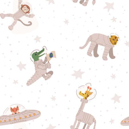 Animal astronauts seamless pattern. Cheetah, giraffe, alien fox in UFO kidnapping monkey spaceman, crocodile.
