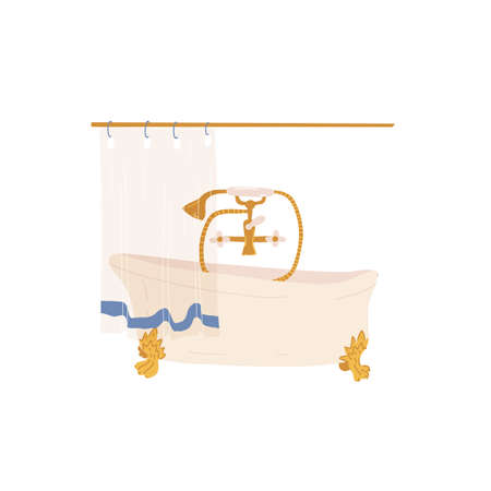 Vintage style cast iron roll top bath on legs with classic details and brass tap and faucets and bath curtain.