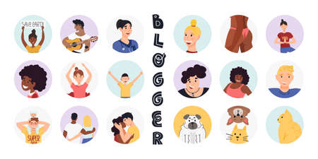 Blogging and vlogging sticker, avatar, highlights set. A lot of persons and different age, ethnics and professions.