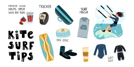 Kite surf tips set. Wet suit and SPF skincare ,poncho for comfort and quick changing of clothes, tracker watch and other Vettoriali