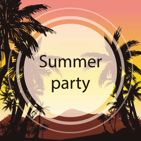 Colorful hand drawn tropical background with palms lanscape in exotic country for Summer Party invitations or banner.