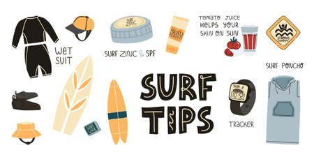 Wet suit and SPF skincare, tomato juice, long poncho for comfort and quick changing of clothes, tracker watch and others