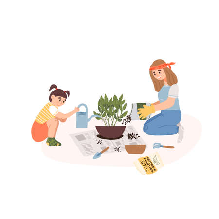Girl help her mother in garden gloves to transplant a plant on a newspaper in a larger pot and pours water from a pot. Vectores
