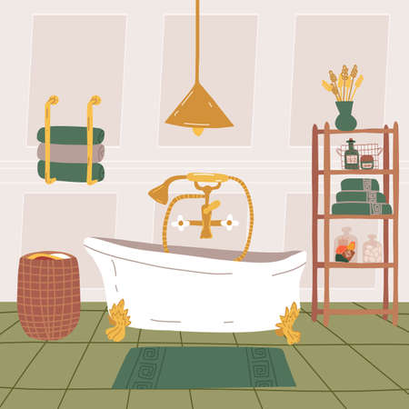 Luxurious bathroom interior with a vintage style bathtub on the claw foot, a shelf with bath accessories,towel holder.