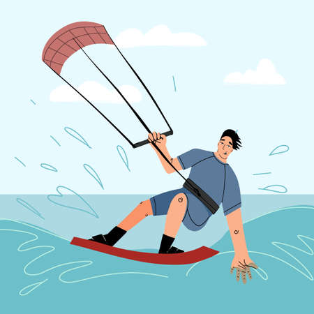 Young smiling kite surfer having fun riding a wave on seascape background. Hand drawn vector isolated illustration. Illustration