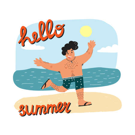 Hello summer banner design, resuming tourism concept. Happy smiling guy in swim briefs running with his hands up.
