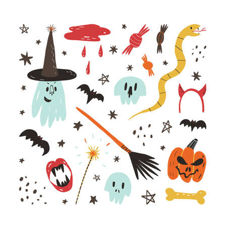 Cute hand drawn Halloween elements and characters set. Scary skull, ghost in witch hat, creepy pumpkin, bats and others.