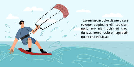 Young smiling kite surfer having fun riding a wave on seascape background web banner template.