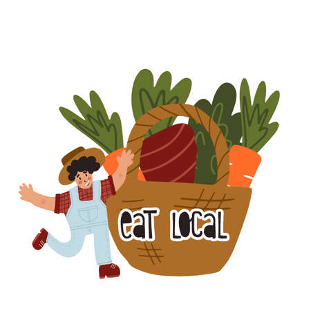 Happy farmer dance next to huge wicker basket with vegetables with lettering Eat Local. Fun sticker, card, banner design 向量圖像