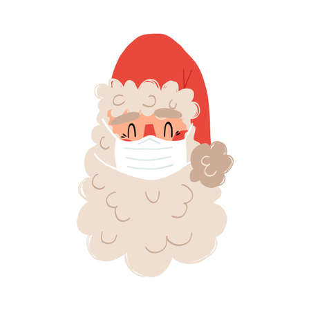 Cute hand drawn Santa Claus in a medical face mask. Healthcare because of COVID-19 pandemic during Christmas holidays. Ilustración de vector