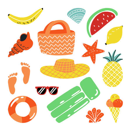 Fruits, shells, star, foot prints, inflatable lounge, ice cream, sunglasses and others summer attributes sticker set.