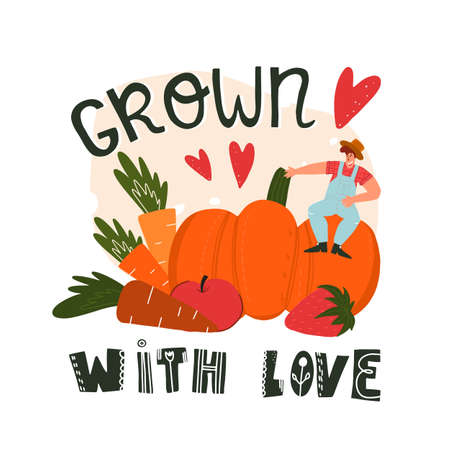 Grown with love hand drawn lettering with hearts and little farmer sits on huge vegetables and fruits. Vettoriali