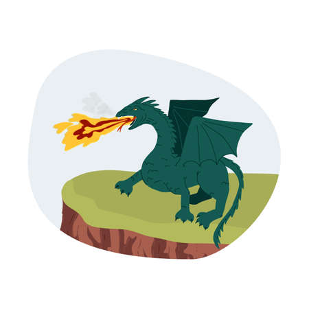 A mythical creature frightening green dragon stands on a ledge of a cliff and spews flame and smoke from its mouth. Flat vector isolated illustration.