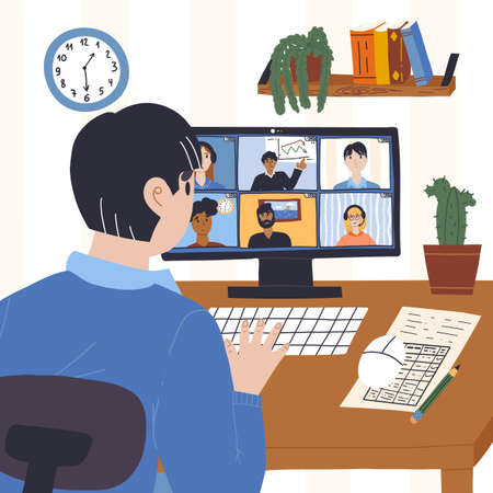 The man participates in an meeting or business conference online from home and communicates with the chief and colleagues. Quarantine, self isolation, freelance, distant work concept. Иллюстрация